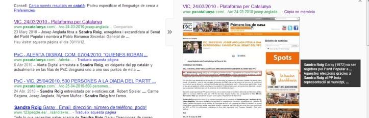 Imatge de caché de la plana web oficial de PxC, que recollia l'adhesió al partit de l'exregidora del PP Sandra Roig abans que fou detinguda en el marc de l'operació Mercuri.