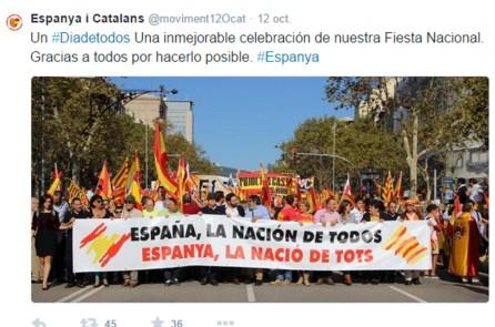 El Moviment 12-O d'Espanya i Catalans,  compartint manifestació amb PxC, Vox, Manos Limpias i altres ultres.